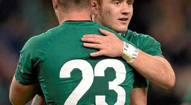 Paddy Jackson and Dave Kearney celebrate at the final whistle