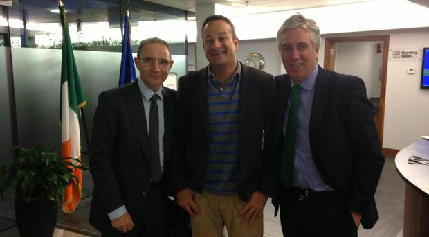 Sports Minister Leo Varadkar meets new Ireland manager Martin O'Neill and FAI chief executive John Delaney at Dublin Airport today in this image posted by the minister on his Twitter account