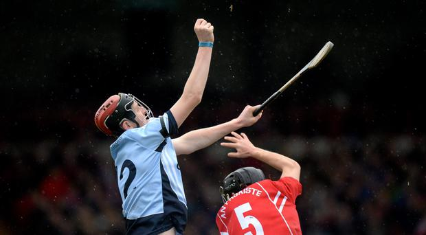 David Dempsey, Na Piarsaigh, goes up for the ball with Pa Walsh, Passage. AIB Munster Senior Club Hurling Championship, Semi-Final, Passage, Waterford v Na Piarsaigh, Cork. Gaelic Grounds, Limerick. Picture credit: Matt Browne / SPORTSFILE