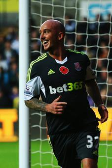 Stephen Ireland of Stoke City celebrates after scoring his sides second goal