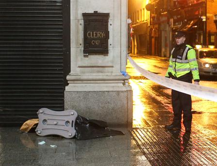 The scene of a stabbing incident on O'Connell St outside Clerys store. Picture credit; Damien Eagers / Evening Herald 10/11/2013