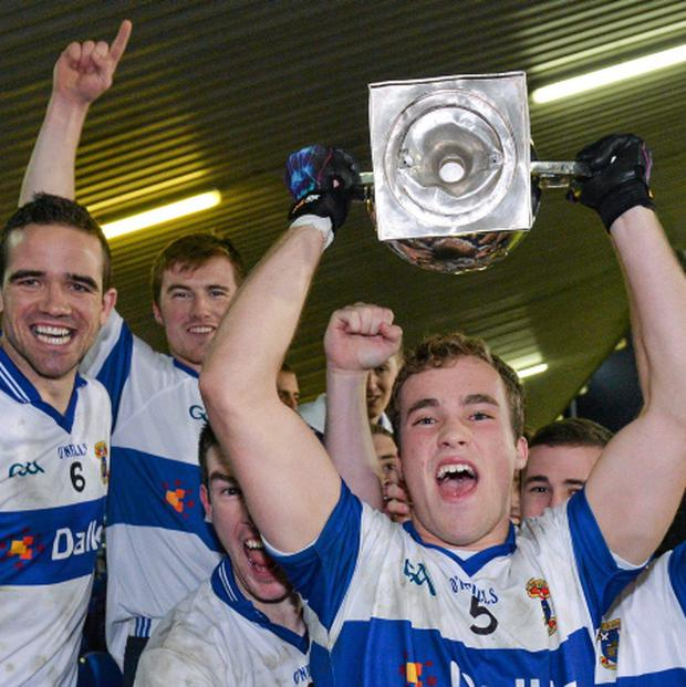 St Vincent's Cameron Diamond lifts the Clery Cup alongside his team-mates. Picture credit: Matt Browne / SPORTSFILE