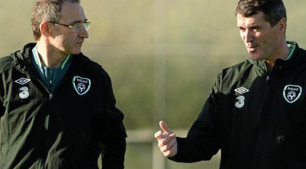 Republic of Ireland manager Martin O'Neill with assistant manager Roy Keane