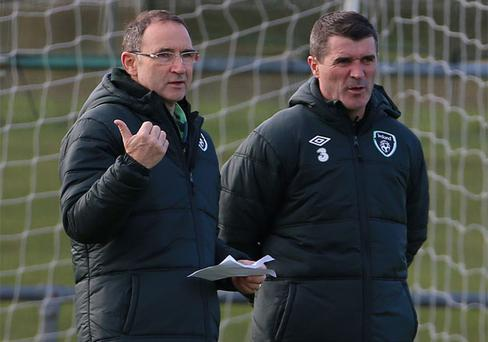 Manager Martin O'Neill of Republic of Ireland and assistant manager Roy Keane talk during a training session at Gannon Park