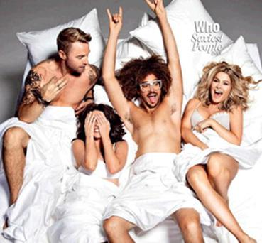 X Factor Australia stars Ronan Keating, Dannii Minogue, Natalie Bassingthwaighte and Redfoo embroiled in a pillow fight (Picture: WHO magazine/Chris Colls