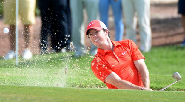Rory McIlroy in action today