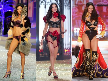 Adriana Lima walking the Victoria's Secret runway in 2008, 2010 and 2012 PHOTOS: Getty
