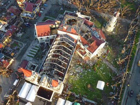 An aerial picture taken with a micro-drone camera unit of German NGO International Search and Rescue (ISAR-Germany) shows the roofless Metropolitan Cathedral of the Archdiocese of Palo in the Typhoon Haiyan devastated town, near Tacloban in central Philippines