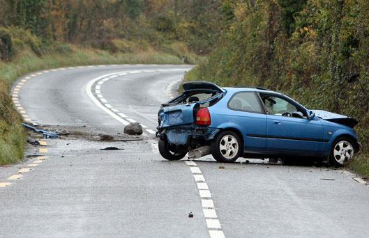 The scene of a single vehicle collision on the N66 Loughrea to Gort Road, Co. Galway.