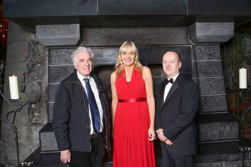 Fr Peter McVerry with Miriam O'Callaghan and Pat Doyle, CEO, Peter McVerry Trust at Peter McVerry Trust's annual gala ball sponsored by Clontarf Castle. The gala ball raises funds to support the charity's work with homeless youths. Picture Conor McCabe Photography.