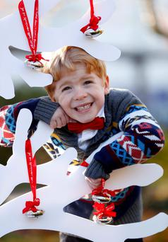 Triplet Joar Ryan, age 5 from Swords, Co. Dublin pictured launching the Beaumont Hospital Foundation's Silver Bell Campaign