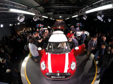 The new BMW Mini is unveiled at their plant in Oxford to coincide with the 107th anniversary of the birth of the car's designer