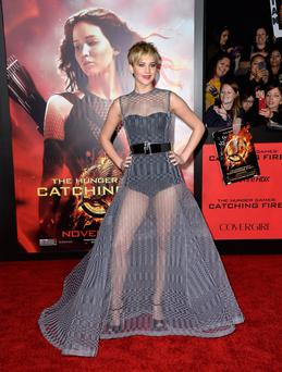 Actress Jennifer Lawrence wows in a sheer gown at the LA premiere (Photo by Frazer Harrison/Getty Images)