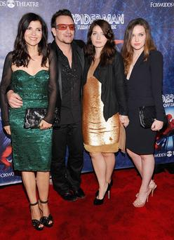 Ali Hewson, Bono of U2, Eve Hewson and Jordan Hewson attend 'Spider-Man Turn Off The Dark' Broadway opening night at Foxwoods Theatre on June 14, 2011 in New York City