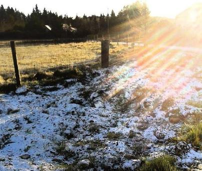 A snapshot of snow on the ground in Roundwood, Co Wicklow sent in by @milacsimoes