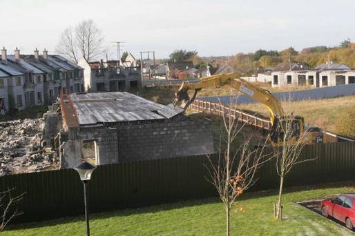 Demolition began at the Glenatore 'Ghost Housing Estate' in Athlone today. Photo: David Walsh