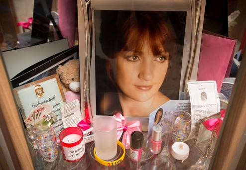 A shrine of the late Michelle Hennessy at her home in Co Kildare. Picture: Mark Condren