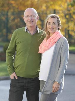 John Murray pictured with Kathryn Thomas as he met her for the first time today since his return to the airwaves Picture credit; Damien Eagers