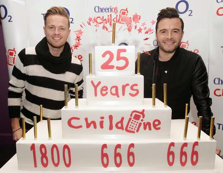 Nicky Byrne and Shane Filan who will be performing the Cheerios Childline Concert
