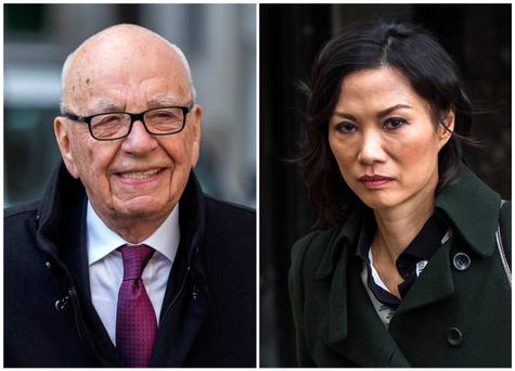 Rupert Murdoch, chairman of News Corp and 21st Century Fox, and wife Wendi Deng, departing New York State Supreme Court after a hearing in New York