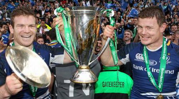 Gordon D'Arcy and Brian O'Driscoll celebrate Leinster's Heineken Cup victory