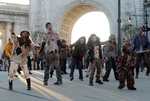 Dead Rising 3 zombies cross over Manhattan Bridge as they head to Best Buy Theater in Times Square for the launch of Xbox One