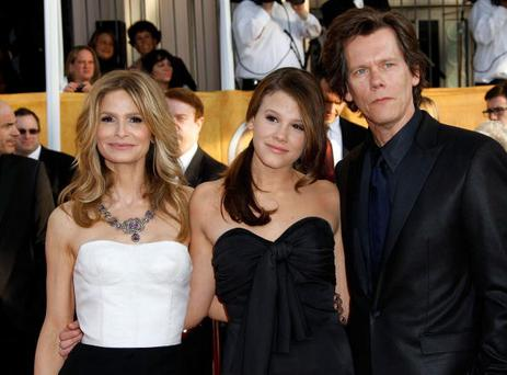 Actors Kyra Sedgwick (left) and Kevin Bacon (right) and their daughter Sosie Bacon.