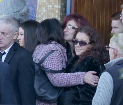 Family members pictured after the funeral of Michael Gannon