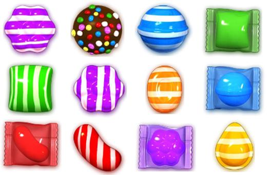 The different kinds of candies in Candy Crush