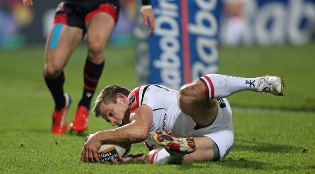 Paul Marshall, Ulster, goes over to score his side's second try