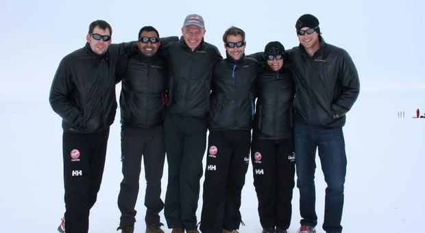 Undated handout photo issued by Walking with the Wounded (WWTW) of members of Team UK (right to left) Prince Harry, Kate Philp, Guy Disney, Richard Eyre, Ibrar Ali and Duncan Slater of the Virgin Money South Pole Allied Challenge 2013 expedition in Novo,