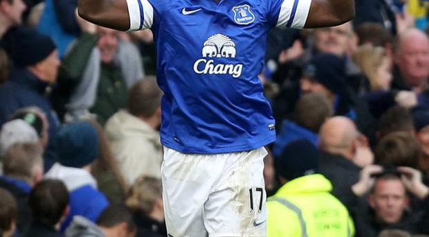 Everton's Romelu Lukaku celebrates scoring his side's second goal of the match during the Barclays Premier League match at Goodison Park