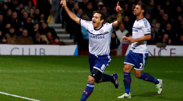 Chelsea's Frank Lampard celebrates after scoring the first of his two goals