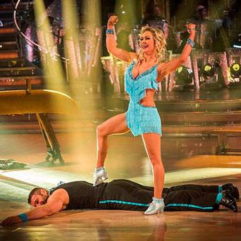 Ben Cohen and Kristina Rihanoff performing during rehearsals for the BBC programme 'Strictly Come Dancing'.