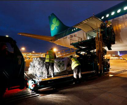 Aer Lingus Staff working with GOAL staff as Aer Lingus fly 40 tonnes of humanitarian aid, including much-needed emergency medical supplies, water, food, shelter materials and other essential items to survivors of Typhoon Haiyan.