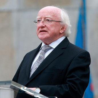 President Michael D Higgins at a ceremony to mark the centenary of the founding of the Irish Volunteers, Oglaigh Na hEireann at the Garden of Rememberance in Dublin.