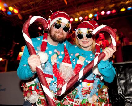 Edward Keegan and Jenny Wilson from Castleknock at Geansai Nollaig Day 2013 on O'Connell Street
