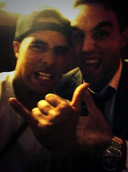 Conor Murray with All Black scrum-half Aaron Smith
