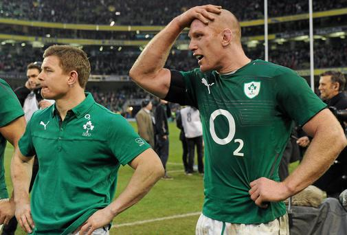 Paul O'Connell, right, and Brian O'Driscoll, following Ireland's last minute defeat to the All Blacks