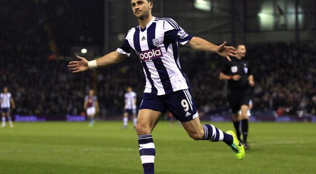 West Bromwich Albion's Shane Long celebrates scoring his teams second goal of the game during the Barclays Premier League match at The Hawthorns, West Bromwich. Nick Potts/PA Wire.