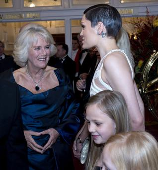 Camilla, Duchess of Cornwall meets singer Jessie J as she attends the Royal Variety Performance at London Palladium on November 25, 2013 in London, England. (Photo by Arthur Edwards-WPA Pool/Getty Images)