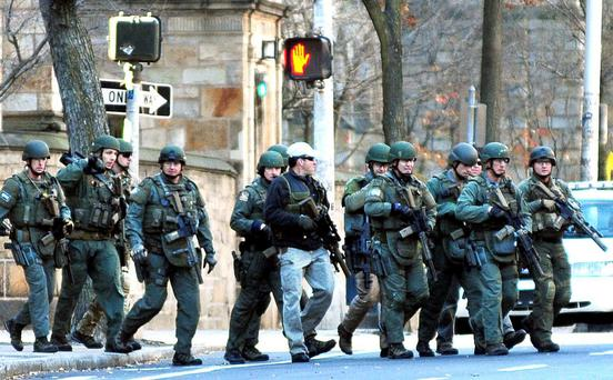 Police respond to the reports of a gunman on Yale campus