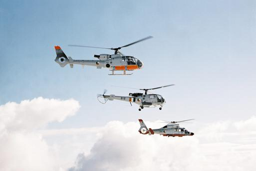 Air Corps formation flight of Gazelle, Alouette and Dauphin Helicopters over Blessington lakes in December 2005. The historic photograph of the different helicopters operated by the Air Corps was taken by the Eurocopter EC 135 just after ins arrival in November 2005.