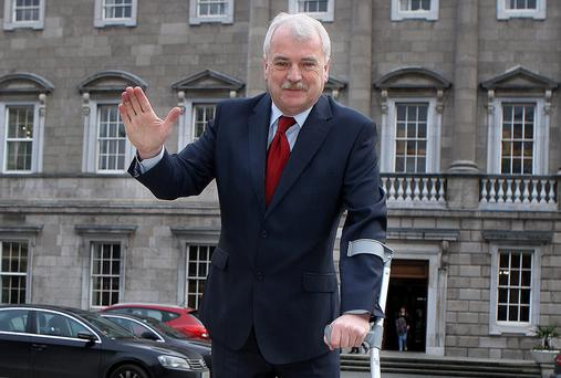Finian McGrath,Independent deputy for Dublin North-Central who pulled a ligament whilst dancing at Leinster House yesterday.Pic Tom Burke