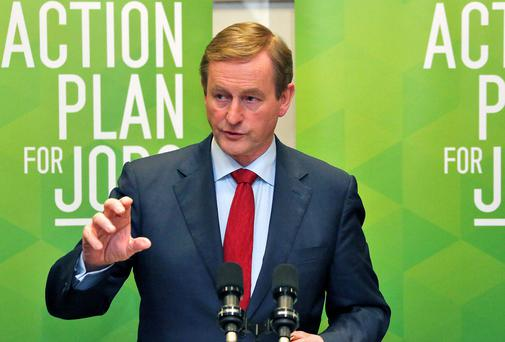 Taoiseach Enda Kenny at Government Buildings this afternoon where results of the seventh progress report under the Government's Action Plan for Jobs were announced