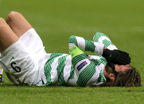 Celtic's Giorgios Samaras reacts during the UEFA Champions League match at Celtic Park, Glasgow