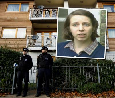 Police stand guard in front of the property in Lambeth where Josephine Herivel (59) is alleged to have been held against her will for 30 years