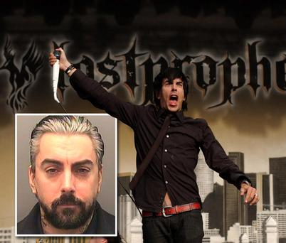 Ian Watkins, the lead singer from the multi-million selling band Lostprophets. Inset: A police photo of Watkins who has pleaded guilty to a string of sex offences