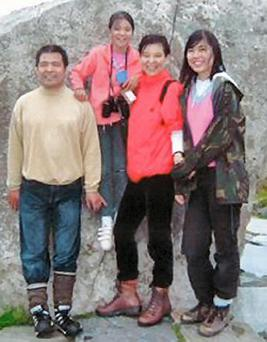 Undated handout photo issued by Northamptonshire Police of Jifeng Ding with his wife Helen and daughters Xing and Alice. Anxiang Du, a Chinese businessman, has been found guilty at Northampton Crown Court of stabbing all four members of the family dead at their home in Wootton, Northamptonshire, in April 2011. PRESS ASSOCIATION Photo.