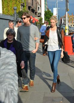 Hollywood actor Josh Hartnett seen walking on St Stephens Green with girlfriend Tamsin Egerton